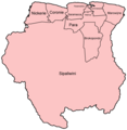 Suriname Districts Named - Mapsof.Net Map