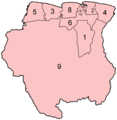 Suriname Districts Numbered - Mapsof.Net Map