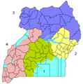 Ugandaregionsnumbered - Mapsof.Net Map