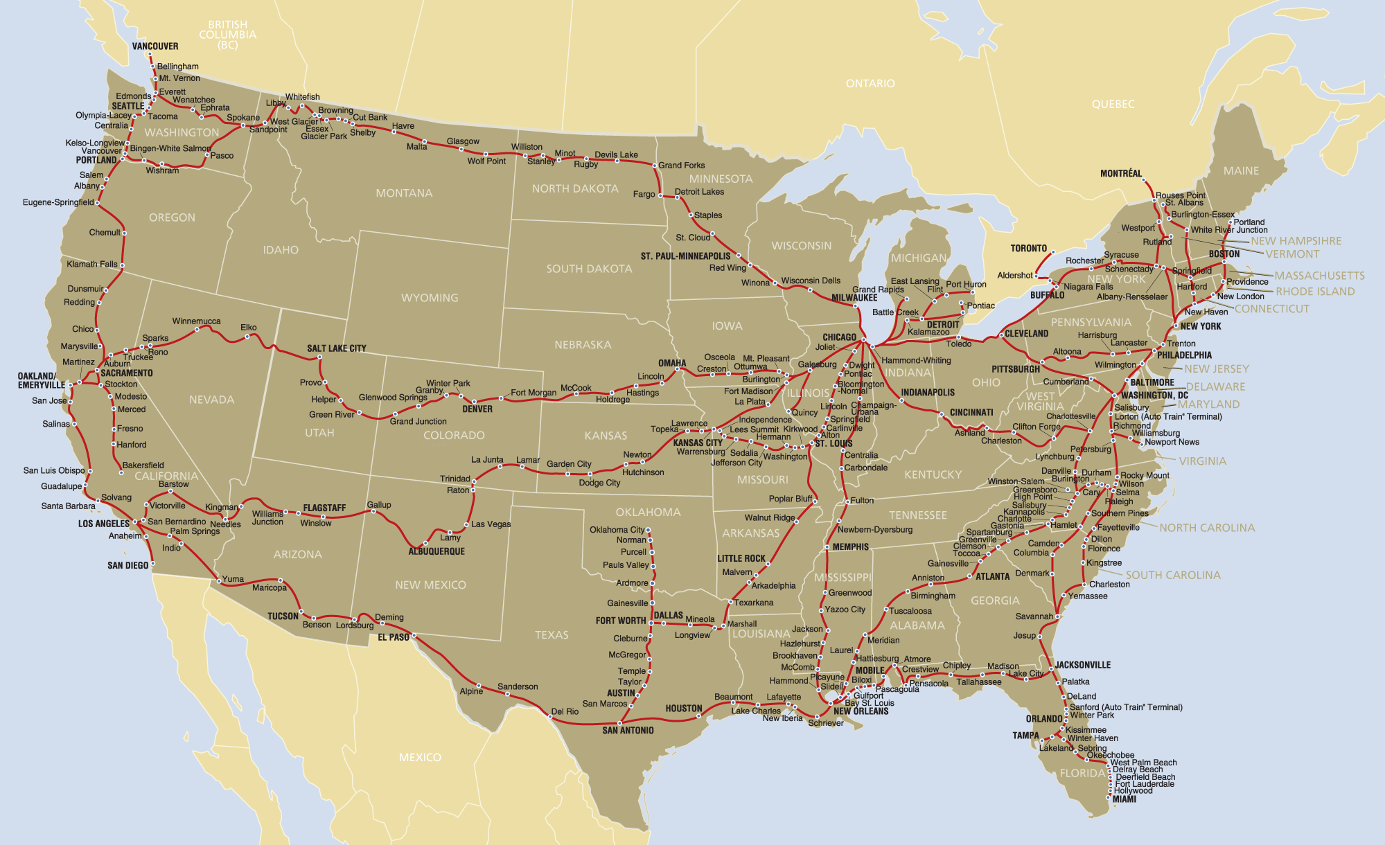 Amtrak Route Map Usa Amtrak Route Map • Mapsof.net Amtrak Route Map Usa
