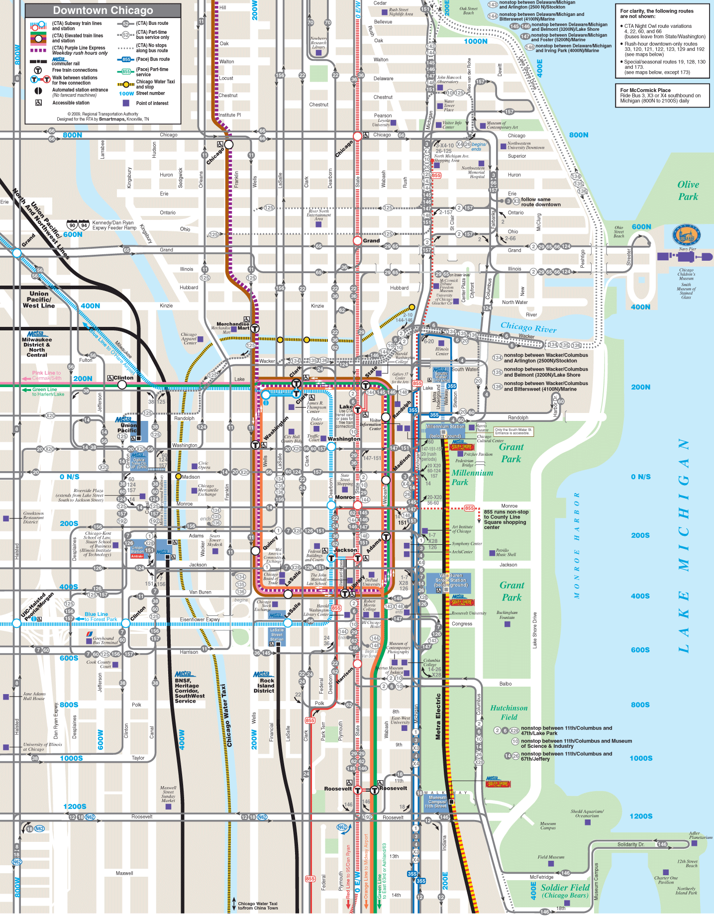 Chicago Downtown Map Chicago Downtown Transport Map • Mapsof.net Chicago Downtown Map