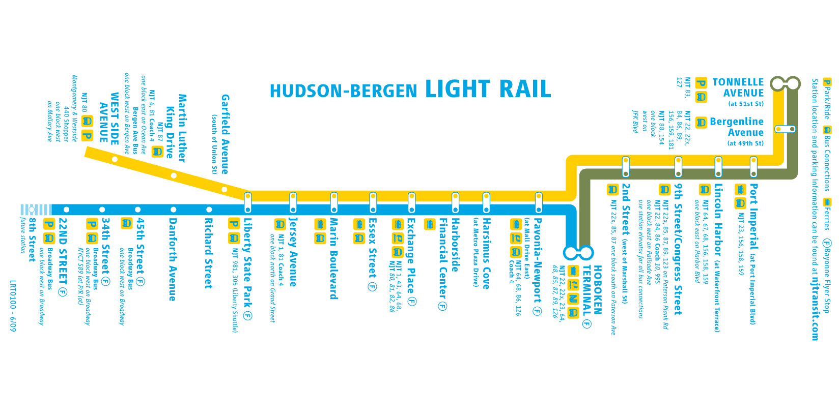 Light Rail Nj Map Hudson Bergen Light Rail Map • Mapsof.net