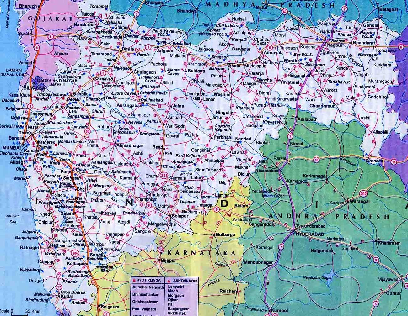 Road Map Of Maharashtra With Distance Maharashtra Political Map • Mapsof.net