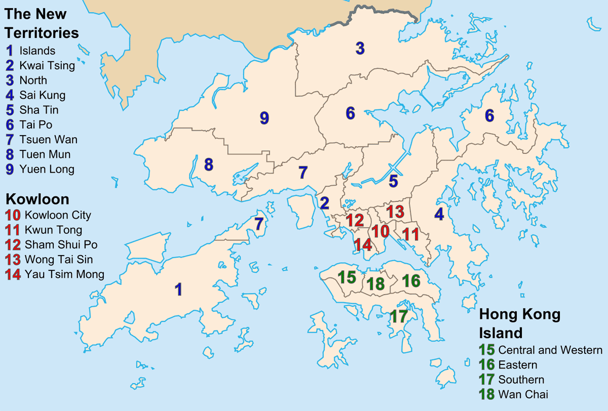 Hong Kong Territory Map Map of Hong Kong Territories • Mapsof.net