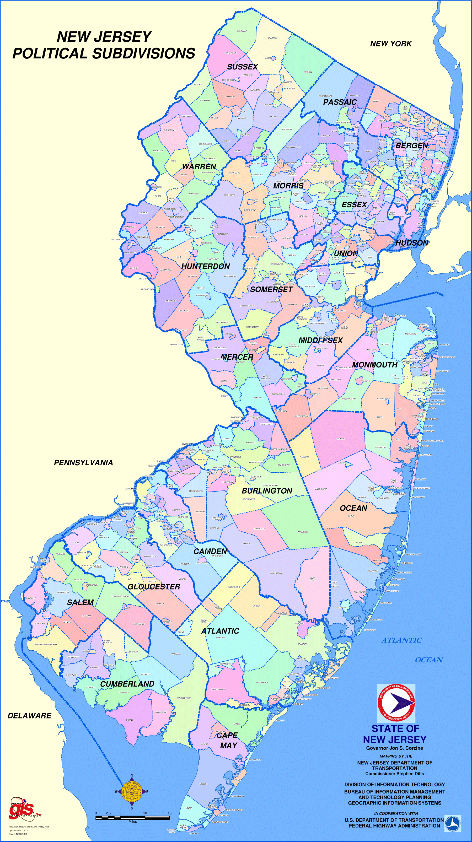 Map Of New Jersey Towns New Jersey Political Subdivisions Map • Mapsof.net