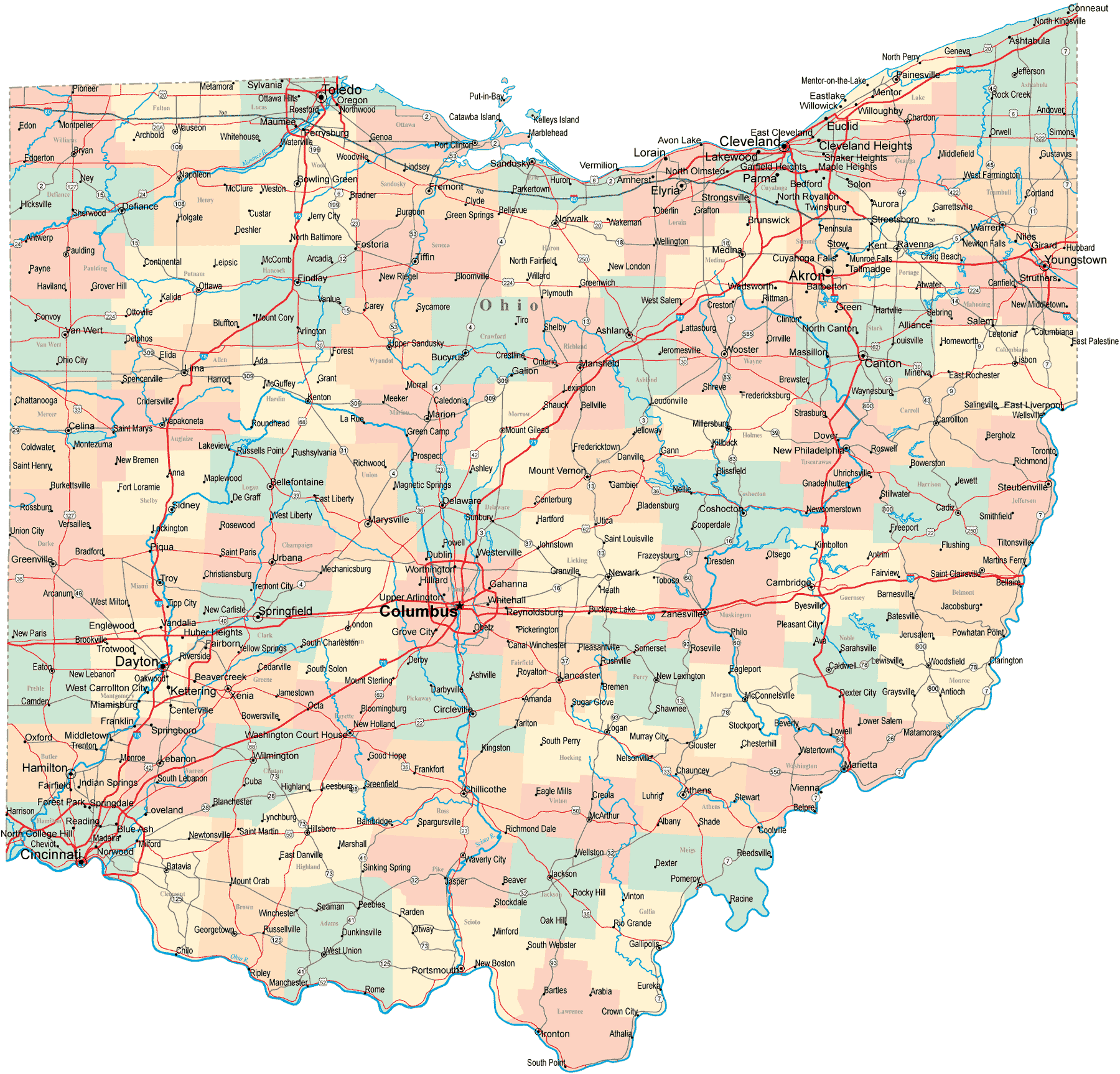 Ohio Map With Cities And Towns Ohio Map • Mapsof.net Ohio Map With Cities And Towns