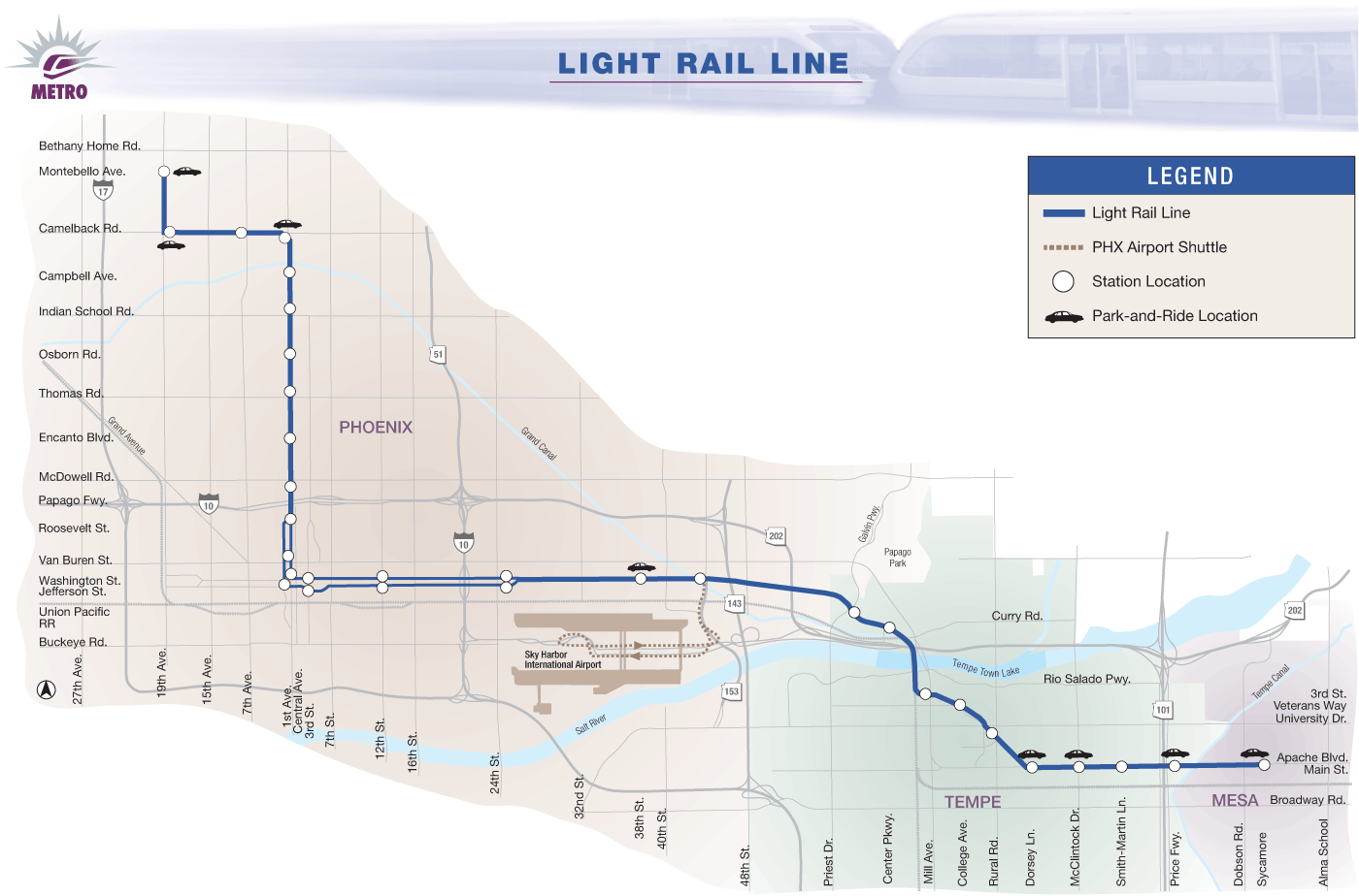 Light Rail Map Phoenix Phoenix Metro Light Rail Map (subway) • Mapsof.net