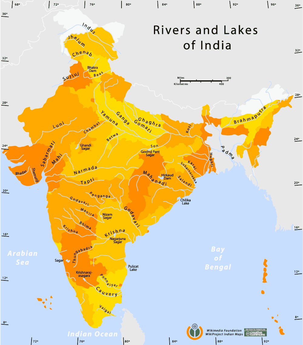 Lakes In India Map Rivers And Lakes Map • Mapsof.net