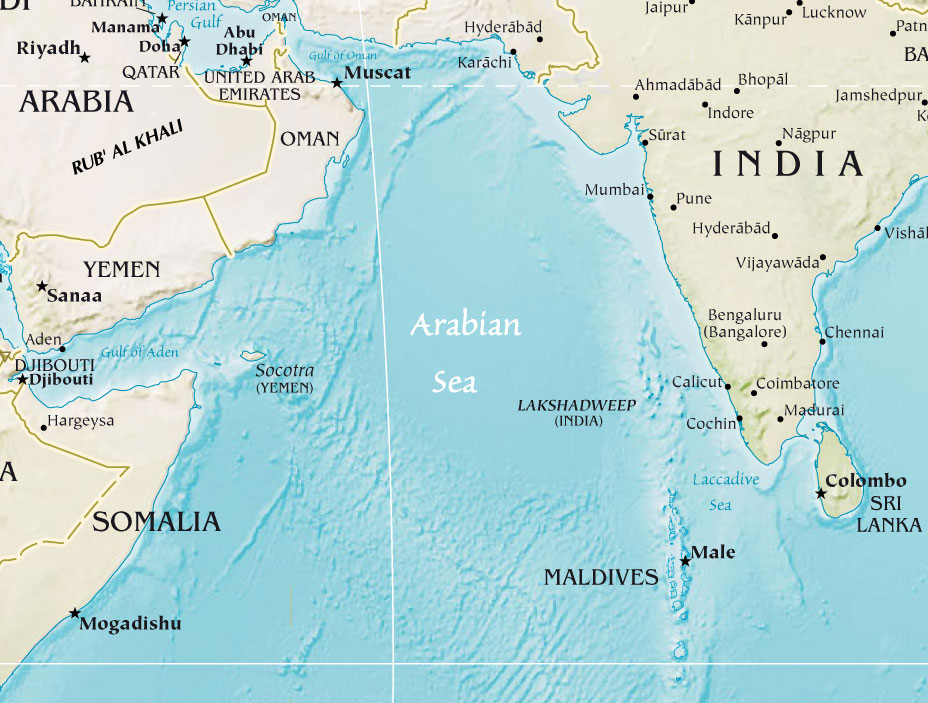 Arabian Sea Map Arabian Sea Physical • Mapsof.net Arabian Sea Map