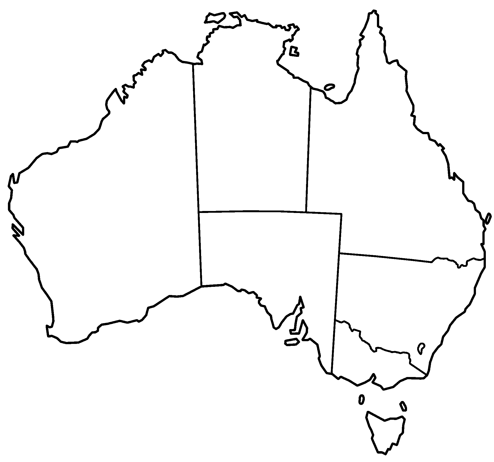 Blank Map Of Australia Australia States Blank • Mapsof.net Blank Map Of Australia