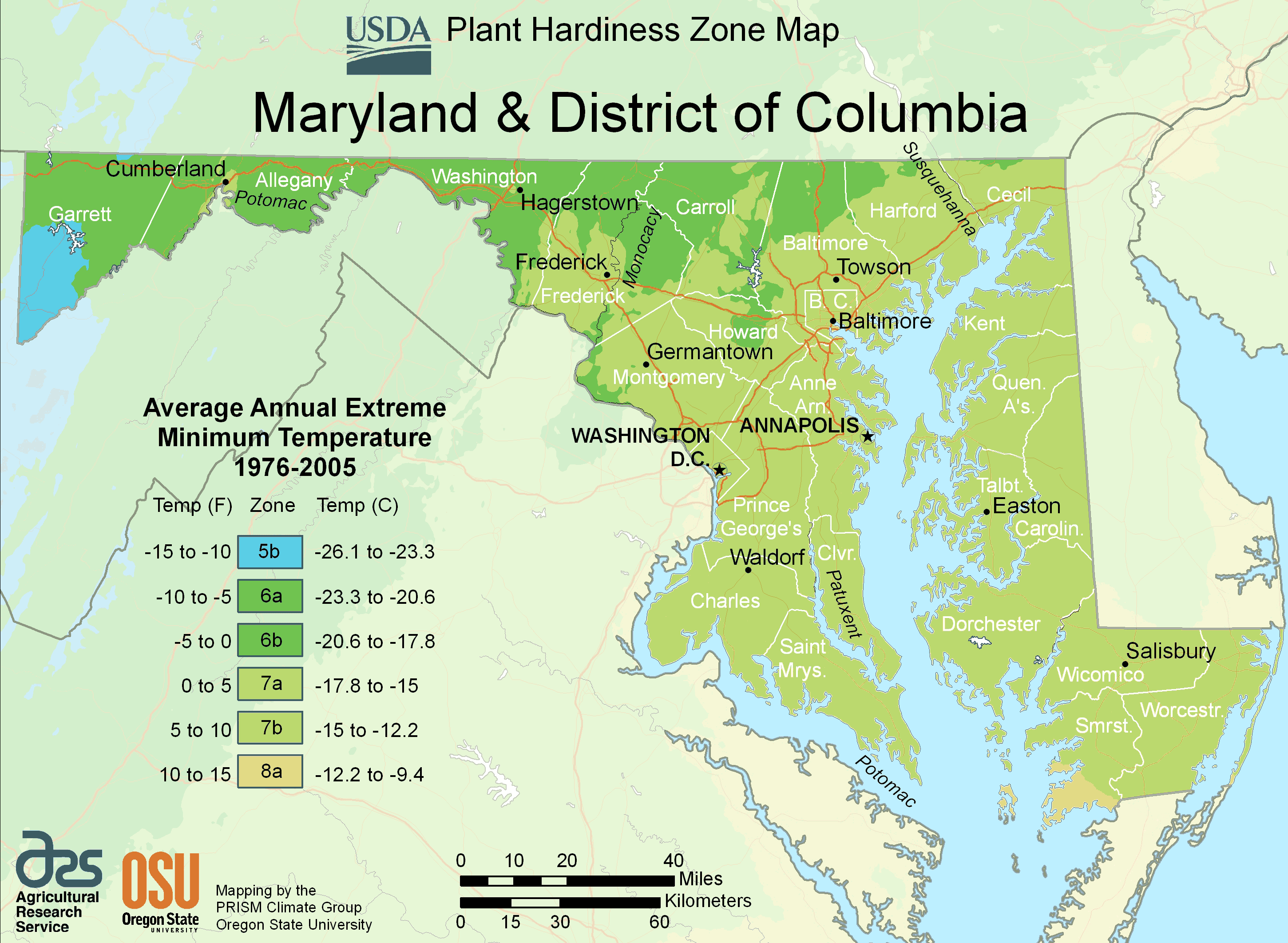 Map Of District Of Columbia District Of Columbia Plant Hardiness Zone Map • Mapsof.net