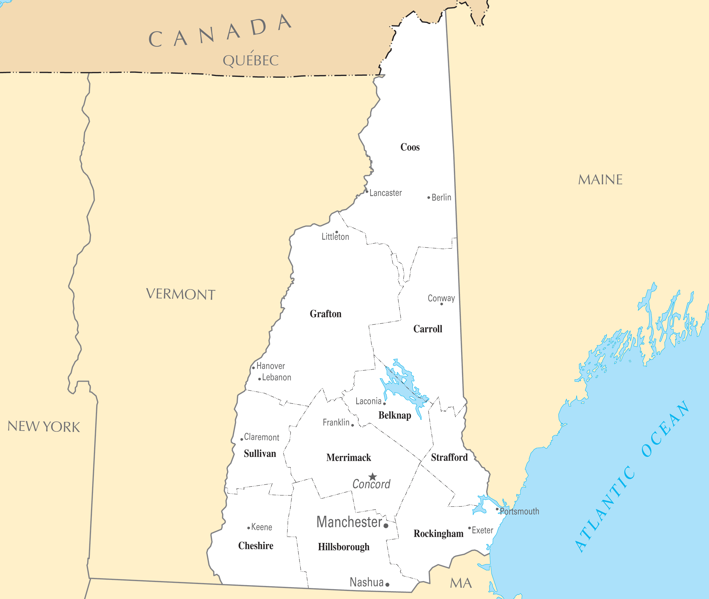 Map Of New Hampshire Cities New Hampshire Cities And Towns • Mapsof.net Map Of New Hampshire Cities