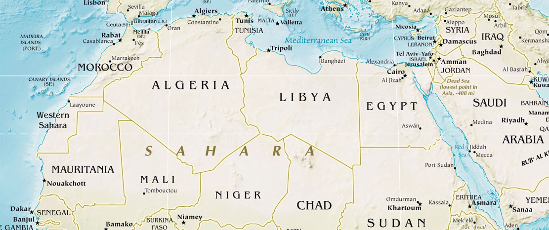 Physical Map Of North Africa North Africa Physical Map • Mapsof.net