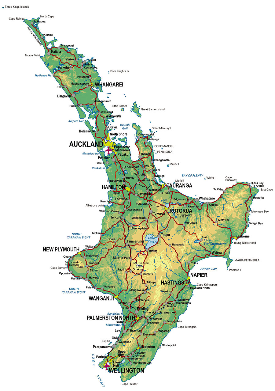 Map Of North Island New Zealand North Island Physical New Zealand • Mapsof.net
