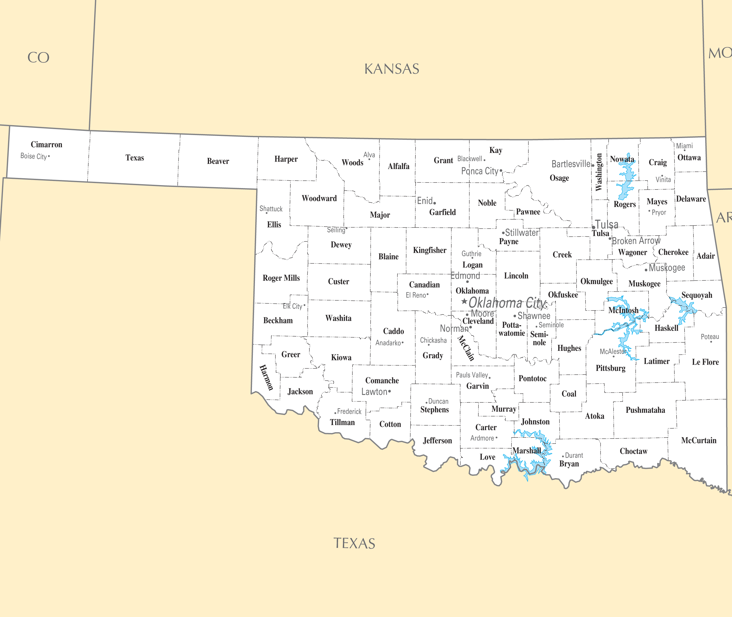 Map Of Oklahoma Cities And Towns Oklahoma Cities And Towns • Mapsof.net Map Of Oklahoma Cities And Towns