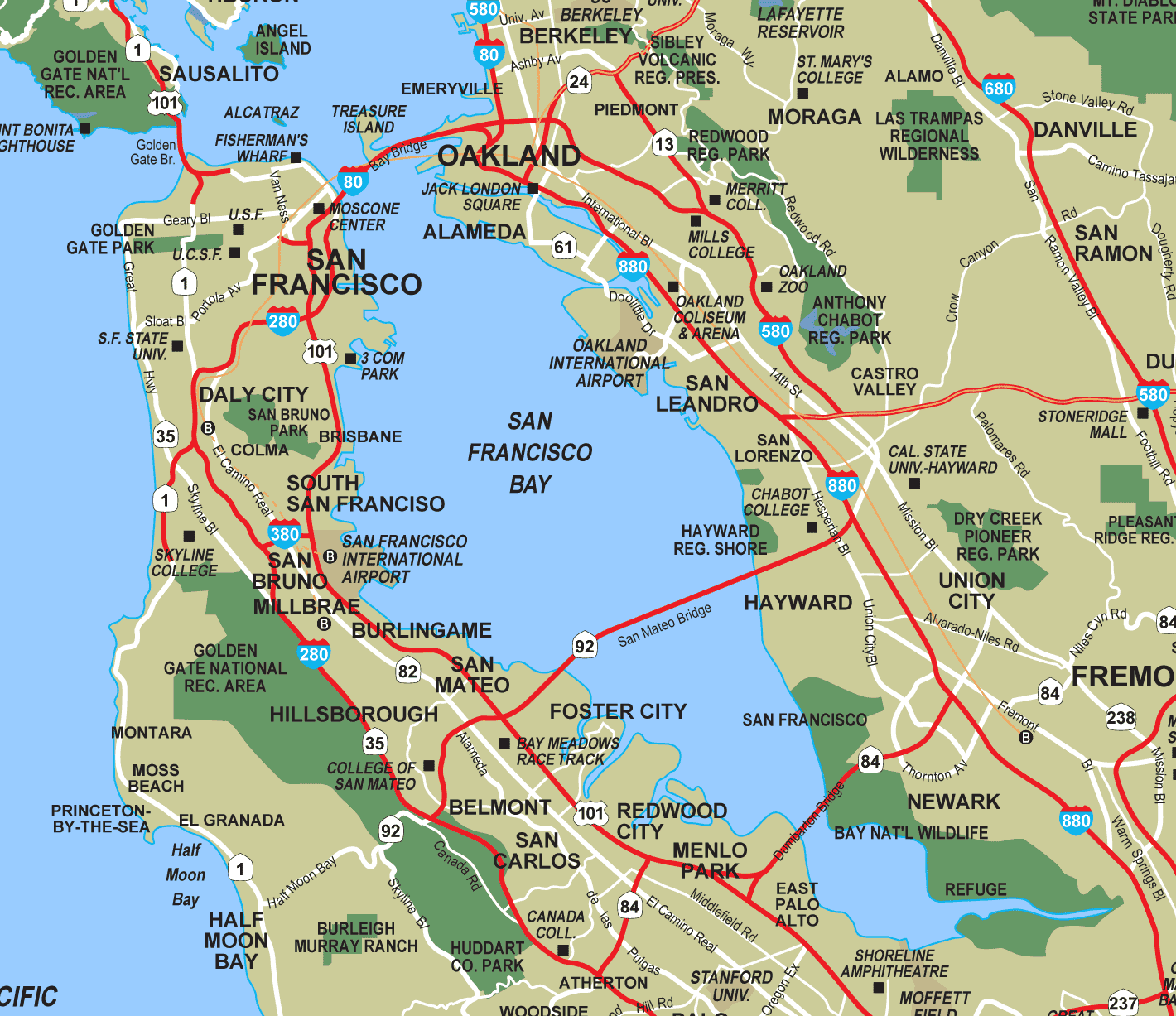 San Francisco Bay Map San Francisco Bay • Mapsof.net