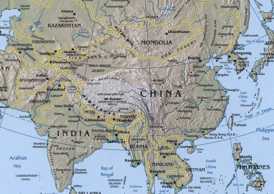 Asia Geography Map Sino Indian Geography • Mapsof.net