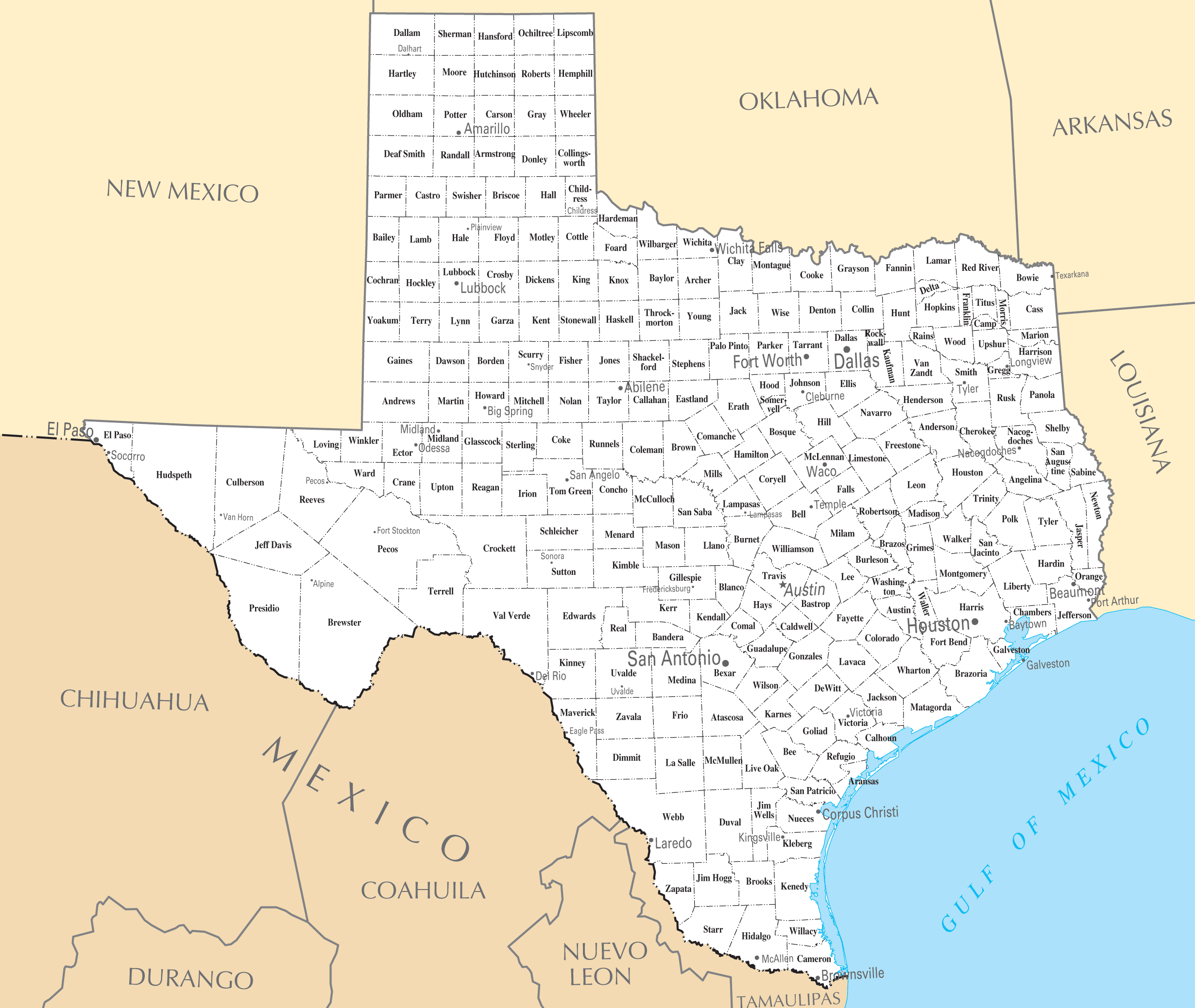 Map Cities And Towns In Texas