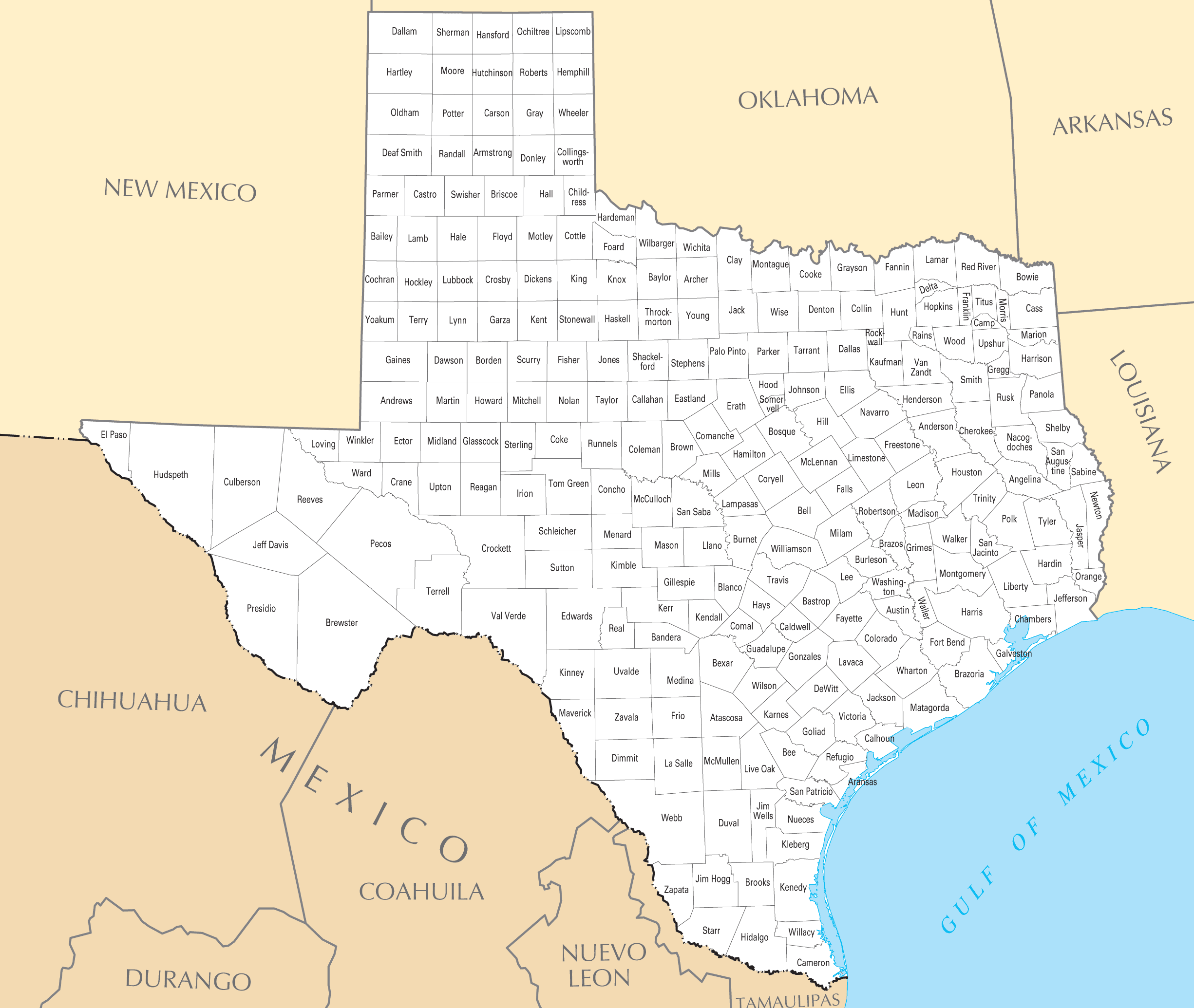 Texas County Map Texas County Map • Mapsof.net Texas County Map