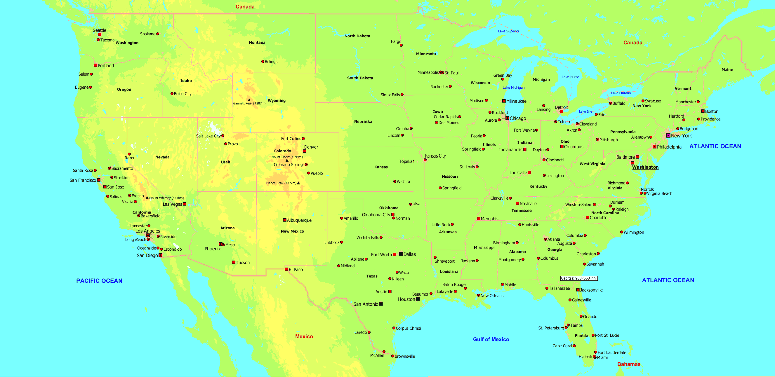 Map Of Major Us Cities Us Map With Major Cities • Mapsof.net