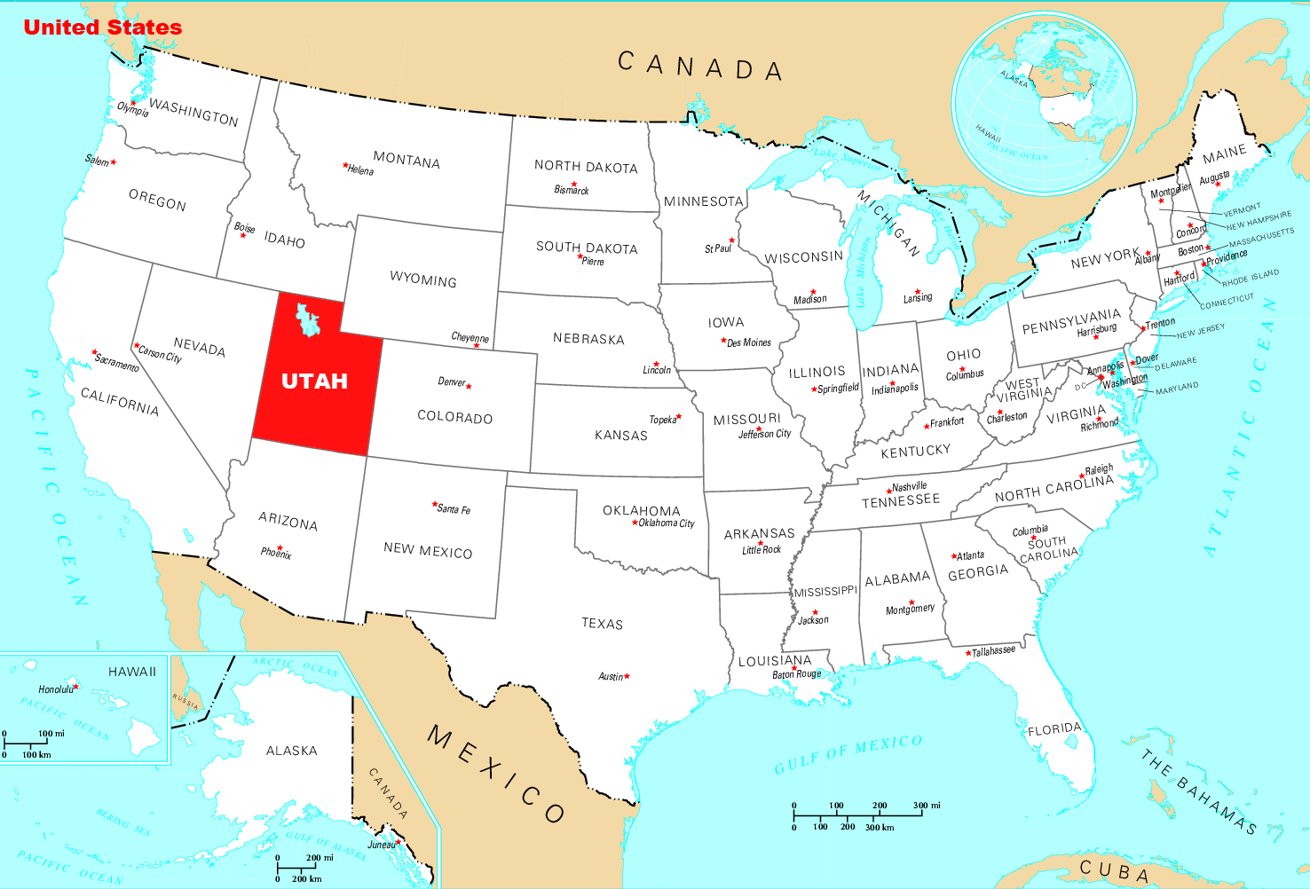 Utah On The Map Where Is Utah Located • Mapsof.net Utah On The Map