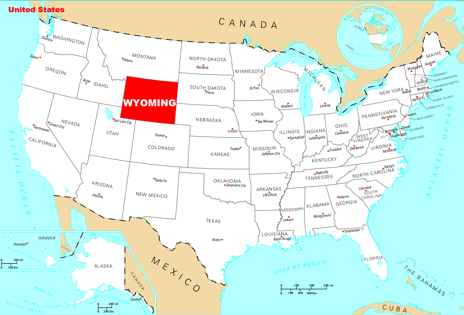 Wyoming On A Map Where Is Wyoming Located • Mapsof.net Wyoming On A Map